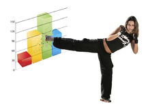 Girl fighting a graph Stock Photo