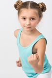 Girl in a fighting stance Royalty Free Stock Images