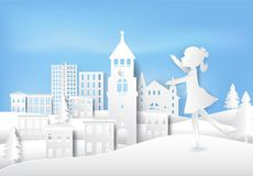 Girl figure ice skating having happiness in winter paper art style. Girl figure ice skating having happiness on outdoor in winter paper art, paper craft style Royalty Free Stock Images
