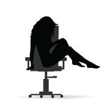 Girl figure silhouette on chair grey illustration on white. Background Stock Photo