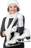 Girl with figure skates Stock Images