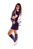 Girl with figure skates Royalty Free Stock Images