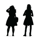 Girl figure standing silhouette set illustration on white. Background Stock Photography