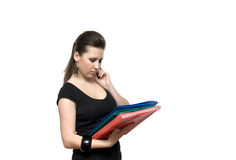 Girl with file. Woman with red folder for documents on white background Stock Image