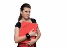 Girl with file. Woman with red folder for documents on white background Stock Images