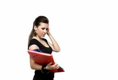 Girl with file. Woman with red folder for documents on white background Royalty Free Stock Image