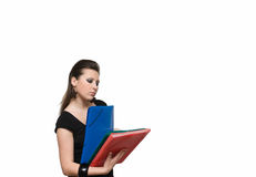 Girl with file. Woman with red folder for documents on white background Royalty Free Stock Photo