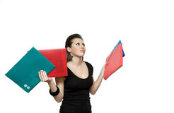 Girl with file. Woman with red folder for documents on white background Stock Photo