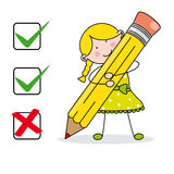 Girl filling a questionnaire. Funny illustration with white background Stock Photography