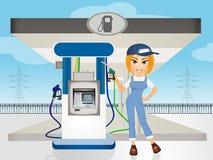 Girl filling-station attendant. Illustration of girl filling-station attendant Royalty Free Stock Photo