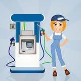 Girl filling-station attendant. Illustration of girl filling-station attendant Stock Photos