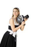 Girl with film camera. Young pretty Girl with film camera on white background Royalty Free Stock Photography