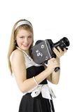 Girl with film camera. Young pretty Girl with film camera on white background Stock Photography