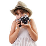 Girl with a film camera Royalty Free Stock Images