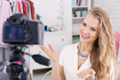 Girl filming tutorial Stock Photography