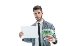 girl financiero lleva a cabo un paquete de placer de los dólares Usted podría ser siguiente Dinero fácil Foto de archivo
