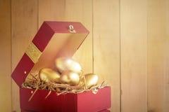 girl financiero lleva a cabo un paquete de placer de los dólares Huevo de oro en una caja de regalo roja foto de archivo