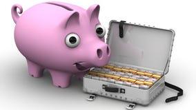 girl finanziario tiene un pacchetto di piacere dei dollari Concetto Fotografie Stock Libere da Diritti