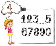 Girl finding missing number Royalty Free Stock Photography