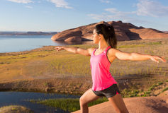 Girl Finding Peace at lake Powell Stock Image