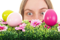 Girl finding some easter eggs Royalty Free Stock Image