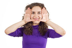 Girl with finger frame Royalty Free Stock Image