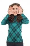 Girl with finger frame Stock Images