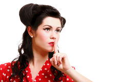 Girl finger near mouth silence gesture Stock Photo