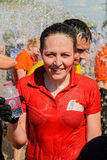 Girl after finishing of race and water procedure Royalty Free Stock Image