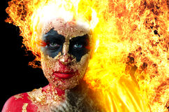 Girl on fire Royalty Free Stock Images