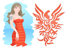 Girl with Fire Eagle Tattoo. Abstract Eagle Emblem painted as tattoo Royalty Free Stock Photos