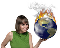 The girl and fire earth Royalty Free Stock Photos