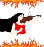 Girl and fire. The illustration of a beautiful girl who plays the violin Royalty Free Stock Images