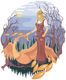 Girl and firebird. Illustration to a Slavic fairytale about firebird Royalty Free Stock Photo