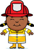 Girl Firefighter. A cartoon illustration of a firefighter girl standing and smiling Stock Photography
