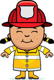 Girl Firefighter. A cartoon illustration of a firefighter girl standing and smiling Stock Photo