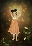 Girl and fireflies Stock Photos