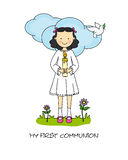 Girl First Communion. Card. Girl with a candle Stock Image