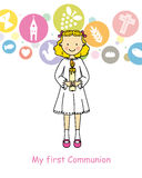Girl First Communion. Communion card girl. Girl with a candle Stock Images