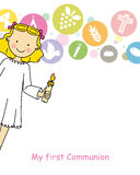 Girl First Communion. First communion card girl. Girl carrying a candle. Background religious icons Stock Photos