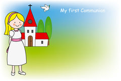 Girl First Communion card. Girl and church card with space for text Royalty Free Stock Image