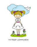 Girl First Communion card. Girl with a cross Stock Images