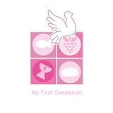 Girl First Communion card. Religious icons Royalty Free Stock Image