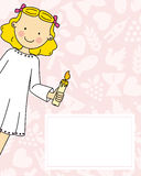 Girl First Communion. Card. space for text Royalty Free Stock Image
