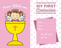 Girl First Communion card. Space for text Stock Photo