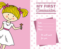 Girl First Communion card. Space for text Royalty Free Stock Photos