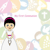 Girl First Communion. Invitation Card Stock Image