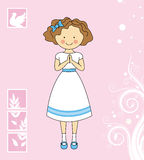 Girl First Communion. First communion invitation pink with a girl praying Stock Photo