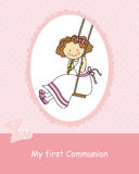 Girl First Communion Stock Photo