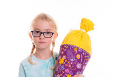 Girl on first day at school Stock Photography